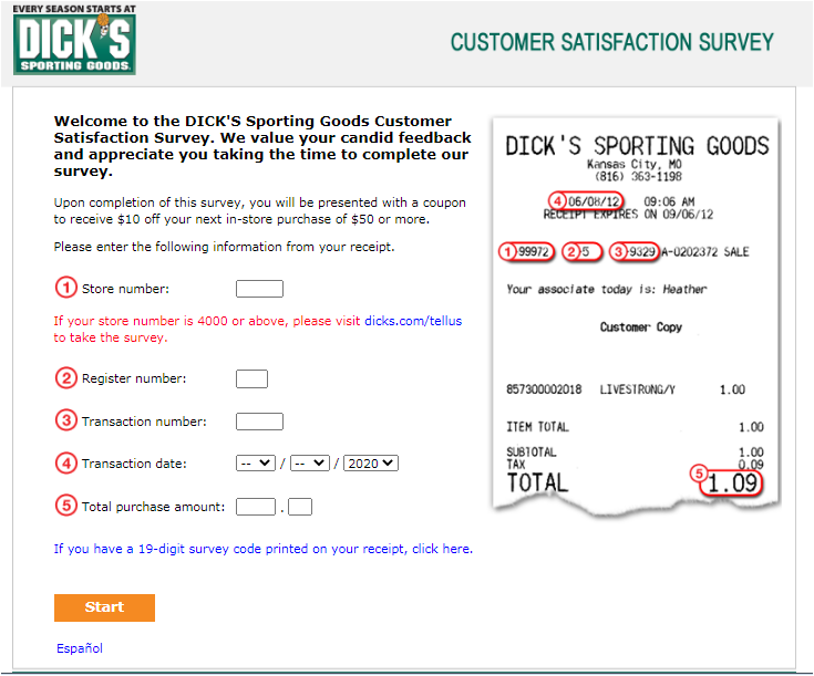Dick's Sporting Goods Guest Experience Survey