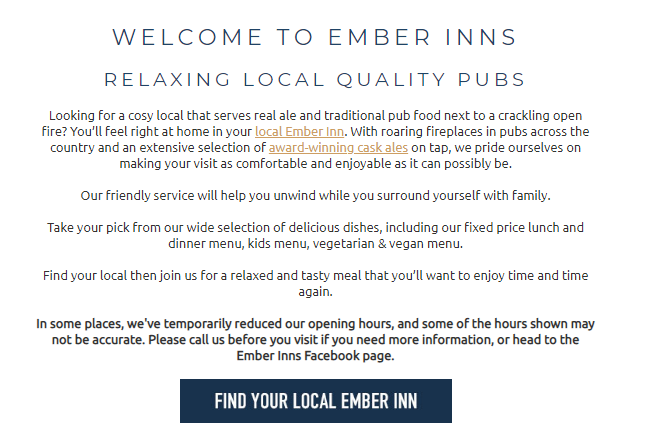 Ember Inns Customer Satisfaction Survey
