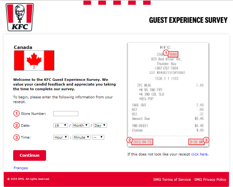 KFC Guest Satisfaction Survey Canada